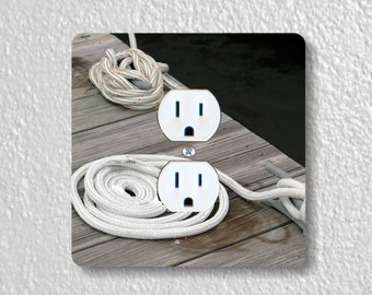 Nautical Tie Up Rope Precision Laser Cut Duplex and Grounded Outlet Square Wall Plate Covers