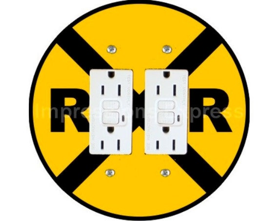 Railroad Crossing Sign Double GFI Outlet Plate Cover