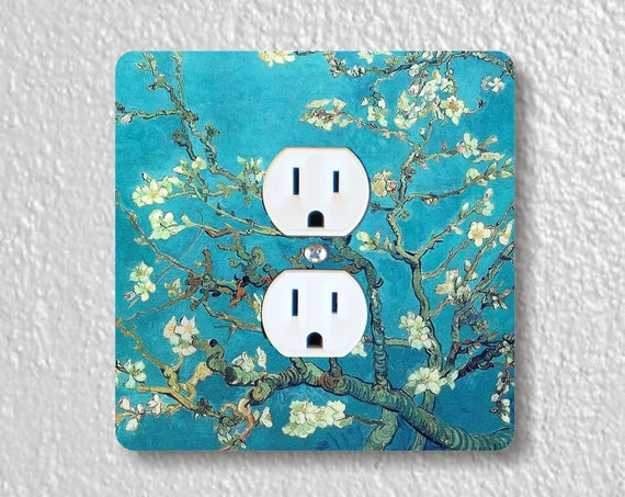 Vincent Van Gogh Almond Branches - Precision Laser Cut Duplex and Grounded Outlet Square Plate Covers - Home Decor - Wall Decor - Wall Plate