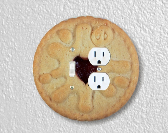 Jam Filled Cookie Precision Laser Cut Round Toggle Switch and Duplex Outlet Double Wall Plate Cover