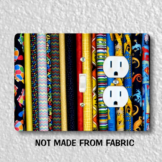 Quilt Fabric Toggle Switch and Duplex Outlet Double Plate Cover