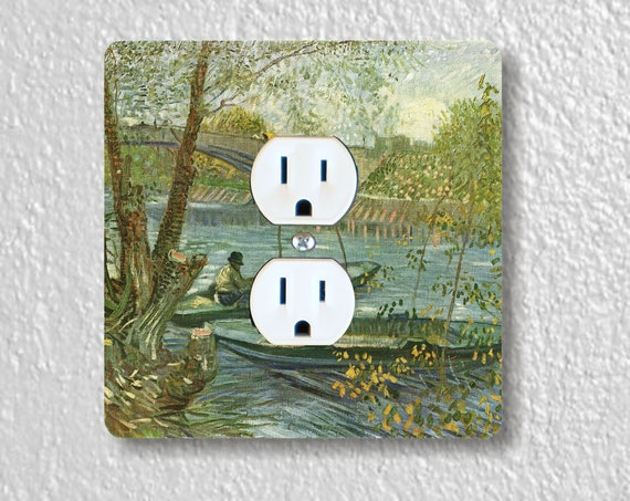 Vincent Van Gogh Fisherman and Boats from the Pont de Clichy Precision Laser Cut Duplex and Grounded Outlet Square Wall Plate Covers