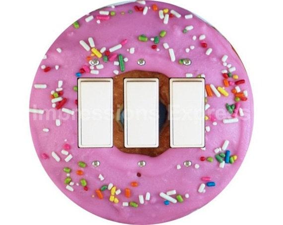 Pink Doughnut Triple Decora Rocker Switch Plate Cover