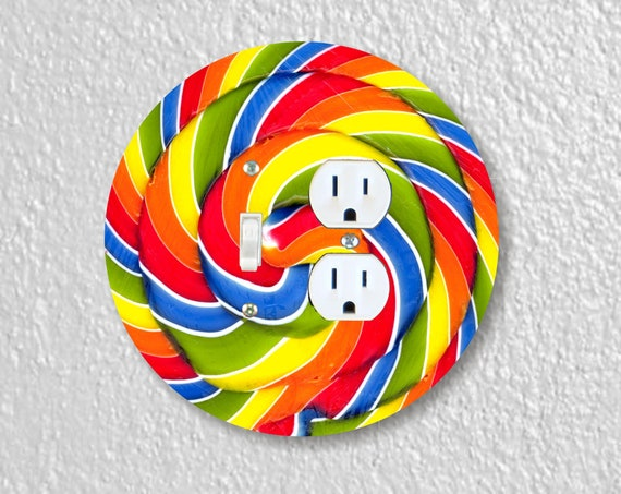 Giant Lollipop Toggle Switch and Duplex Outlet Double Plate Cover