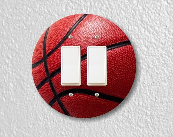 Burgundy Basketball Sport Round Decora Double Rocker Switch Plate Cover