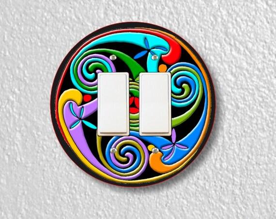 Celtic Triskelion Round Double Decora Rocker Switch Plate Cover