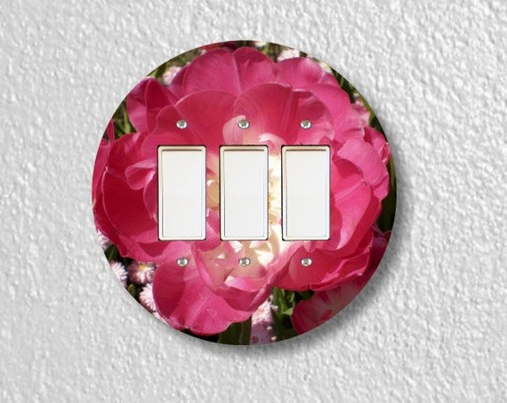 Double Tulip Flower Round Triple Decora Rocker Light Switch Plate Cover