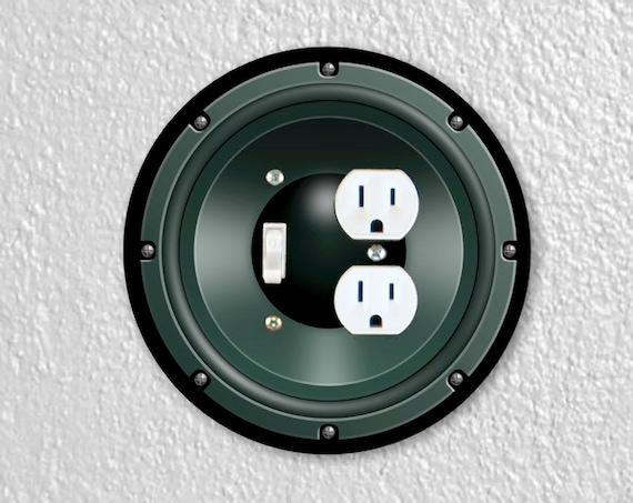 Precision Laser Cut Round Toggle Light Switch and Duplex Outlet Double Plate Cover - Black Music Loudspeaker - Home Decor - Wallplates