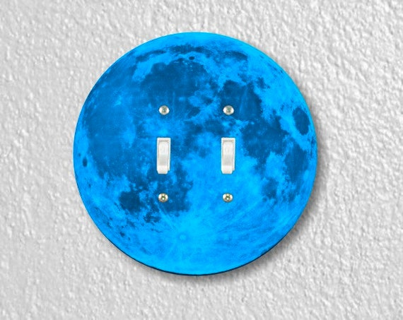 Blue Moon Round Double Toggle Switch Plate Cover
