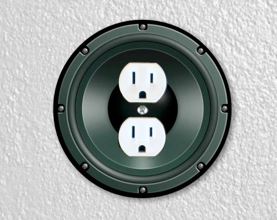 Black Music Loudspeaker Round Duplex Outlet Plate Cover