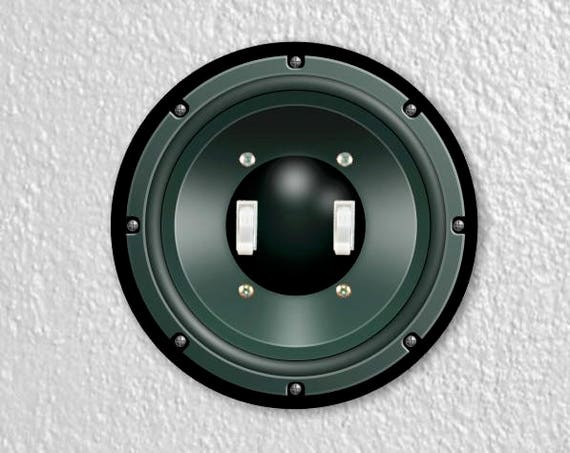 Black Music Loudspeaker Round Double Toggle Switch Plate Cover