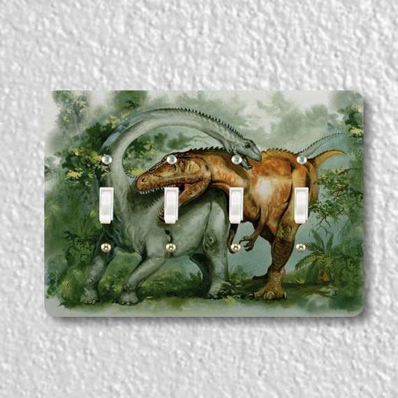 Rebbachisaurus and Giganotosaurus Dinosaur Quadruple Toggle Light Switch Plate Cover