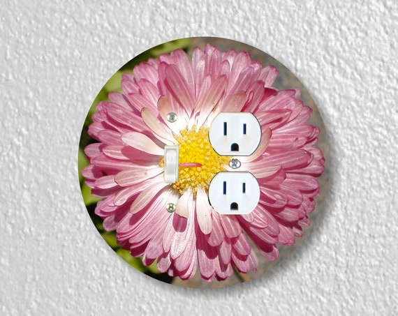 Pink Daisy Flower Precision Laser Cut Round Toggle Light Switch and Duplex Outlet Double Wall Plate Cover