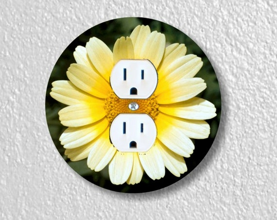 Yellow Daisy Flower Precision Laser Cut Duplex and Grounded Outlet Round Wall Plate Covers