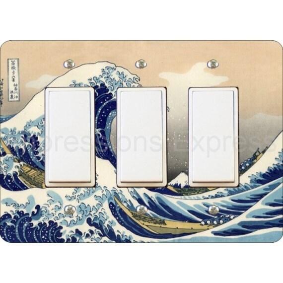 Kanagawa Great Wave Hokusai Painting Triple Decora Rocker Light Switch Plate Cover