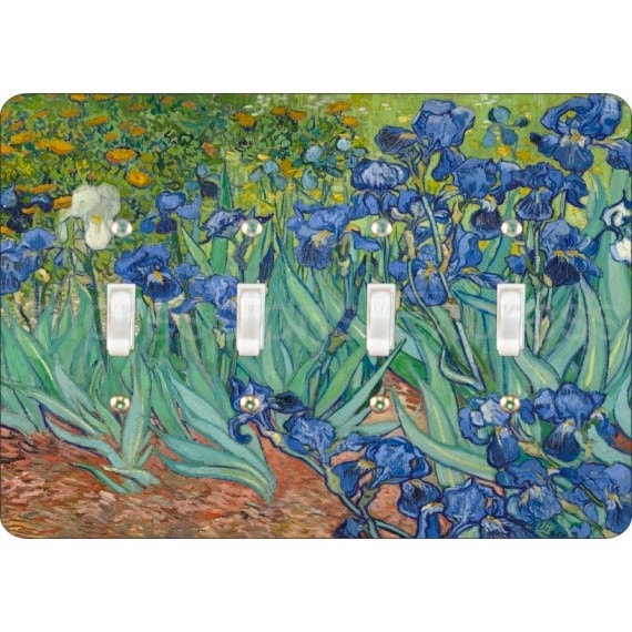 Van Gogh Irises Painting Quadruple Toggle Light Switch Plate Cover