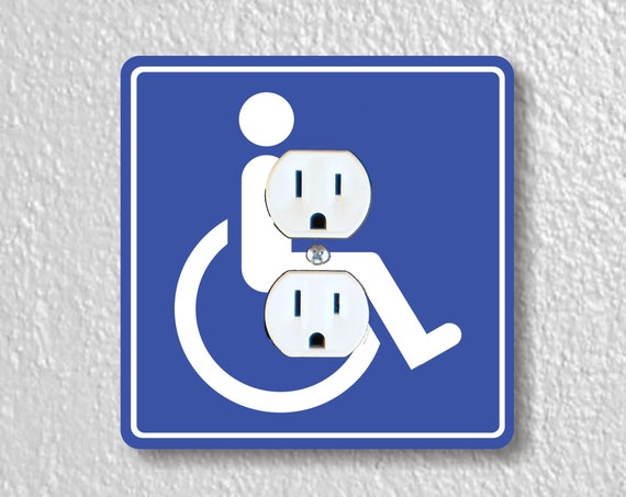Disability Sign Precision Laser Cut Duplex and Grounded Outlet Square Wall Plate Covers