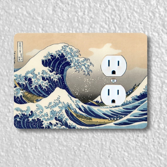 Precision Laser Cut Duplex And Grounded Outlet Plate Covers - Kanagawa Great Wave Hokusai Painting - Home Decor - Wall Decor - Wallplate