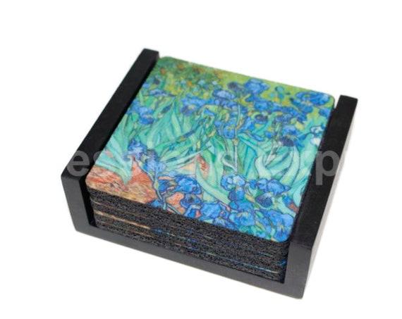 Vincent Van Gogh Irises Painting Coaster Set of 5 with Wood Holder