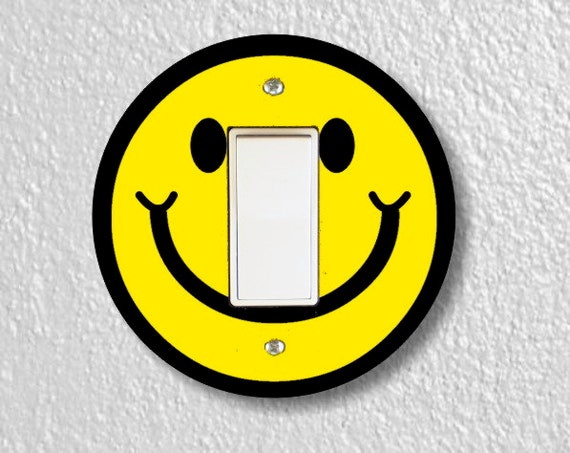 Smiling Face Round Decora Rocker Light Switch Plate Cover