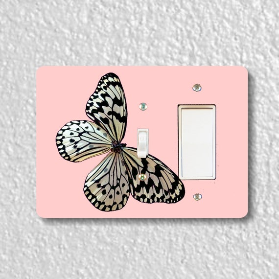 Precision Laser Cut Toggle and Decora Rocker Double Switch Plate Cover - White Nymph Butterfly Pink - Home Decor - Wallplates