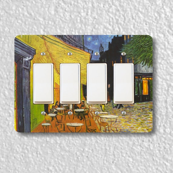 Café Terrace at Night Van Gogh Painting Quadruple Decora Rocker Light Switch Plate Cover