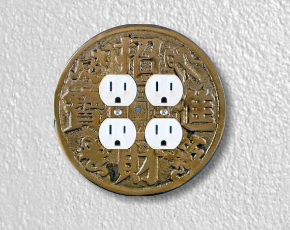 Chinese Fortune Coin Round Double Duplex Outlet Plate Cover