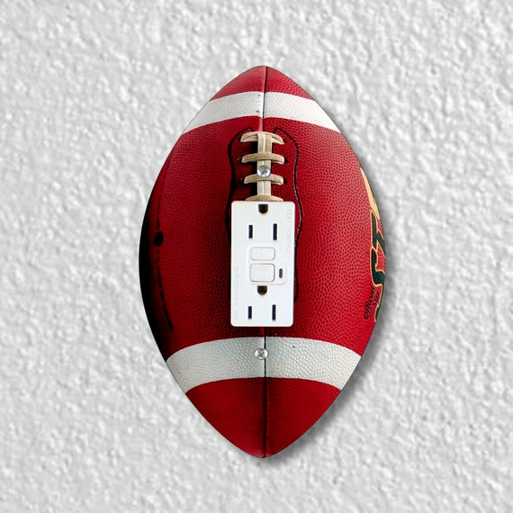 Football Ball Shaped GFI Grounded Outlet Plate Cover