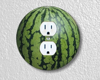 Watermelon Fruit Precision Laser Cut Duplex and Grounded Outlet Round Wall Plate Covers