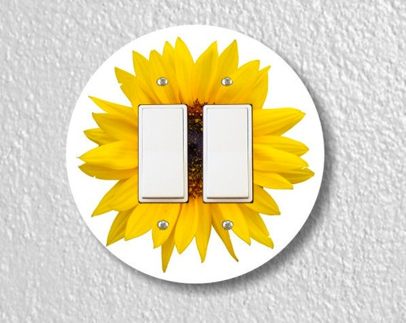 Sunflower Flower Round Decora Double Rocker Light Switch Plate Cover
