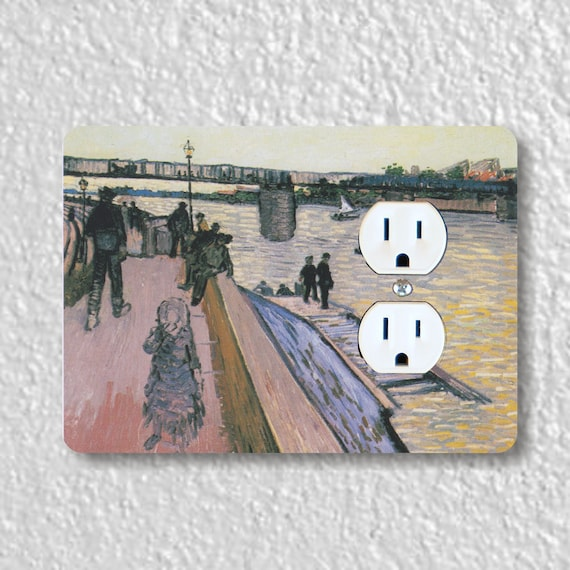 The Bridge of Triquetaille Van Gogh Painting Precision Laser Cut Duplex and Grounded Outlet Wall Plate Covers