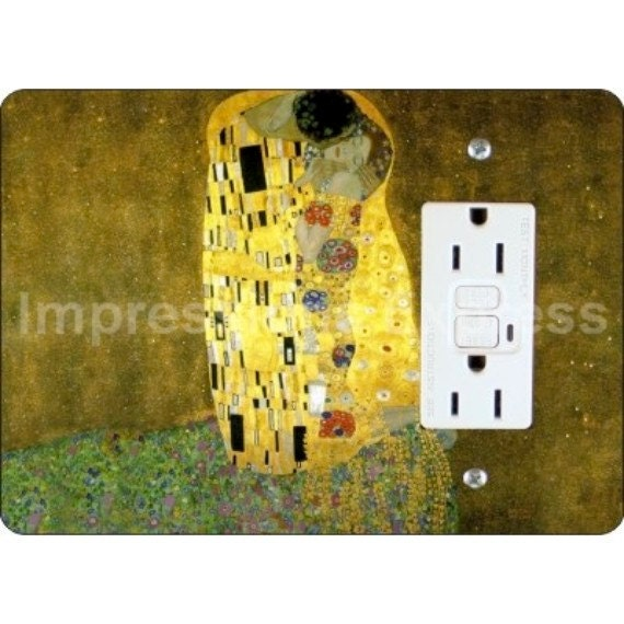 Klimt The Kiss Painting GFI Grounded Outlet Plate Cover