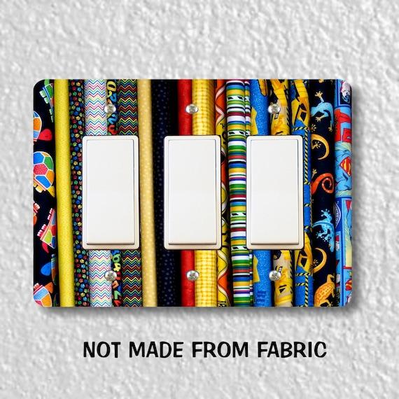 Quilt Fabric Triple Decora Rocker Light Switch Plate Cover