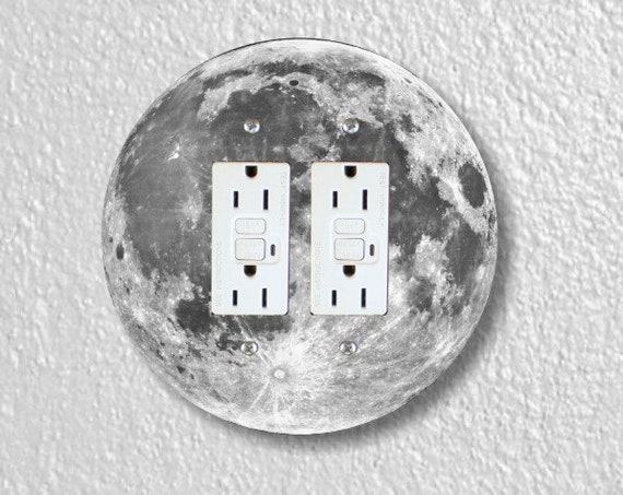 Moon from Space Round Double Grounded GFI Outlet Plate Cover