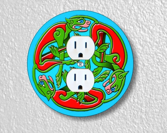 Precision Laser Cut Duplex And Grounded Outlet Round Plate Covers - Celtic Dragon - Home Decor - Wall Decor - Wallplates