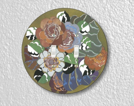 Floral Art Deco Art Nouveau Round Double Toggle Switch Plate Cover
