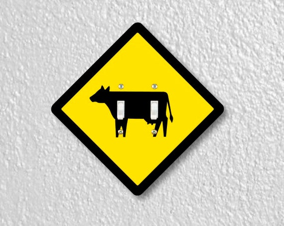 Cattle Crossing Sign Double Toggle Light Switch Plate Cover