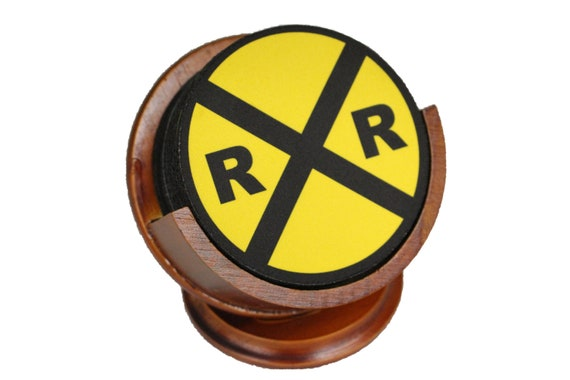 Railroad Crossing Sign Coaster Set of 8 Neoprene Backed with Cherry Colored Pedestal Wood Holder