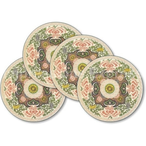 Chinese Ornament Round Coasters - Set of 4