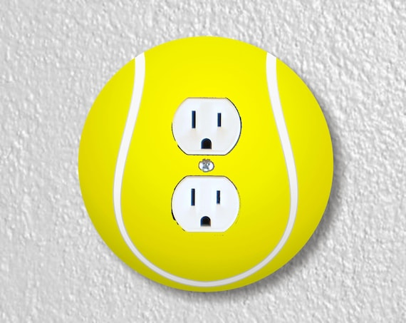 Tennis Ball Precision Laser Cut Duplex and Grounded Outlet Round Wall Plate Covers