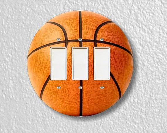 Burnt Orange Basketball Round Triple Decora Rocker Light Switch Plate Cover