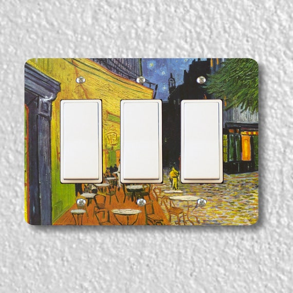 Café Terrace at Night Van Gogh Painting Triple Decora Rocker Light Switch Plate Cover