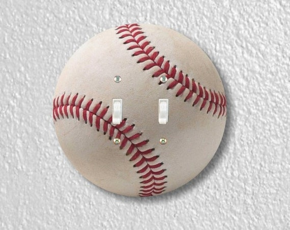 White Baseball Round Double Toggle Light Switch Plate Cover