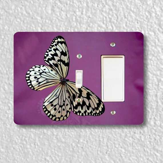 White Butterfly Insect Precision Laser Cut Toggle and Decora Rocker Double Light Switch Wall Plate Cover