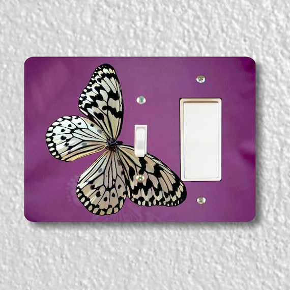 Precision Laser Cut Toggle and Decora Rocker Double Switch Plate Cover - White Butterfly Insect - Home Decor - Wallplates