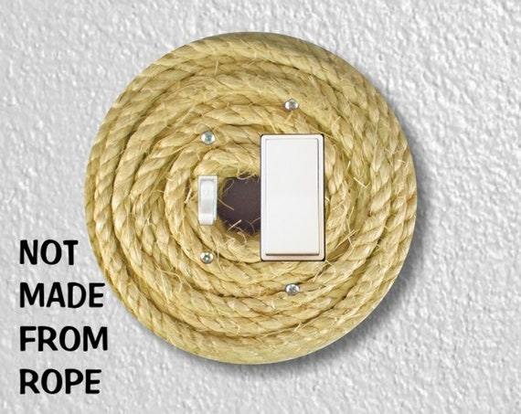Nautical Sisal Rope - Precision Laser Cut Round Toggle and Decora Rocker Light Switch Plate Cover - Home Decor - Wall Plate