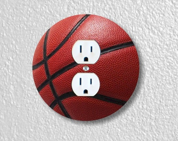 Precision Laser Cut Duplex And Grounded Outlet Round Plate Covers - Burgundy Basketball - Home Decor - Wall Decor - Wallplates
