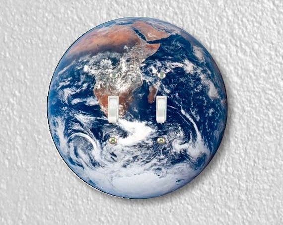 Planet Earth from Space Round Double Toggle Switch Plate Cover