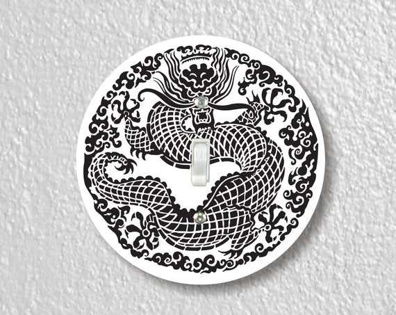 Oriental Dragon Precision Laser Cut Toggle and Decora Rocker Round Light Switch Wall Plate Covers