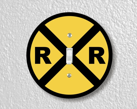 Railroad Crossing Sign Precision Laser Cut Toggle and Decora Rocker Round Light Switch Wall Plate Covers